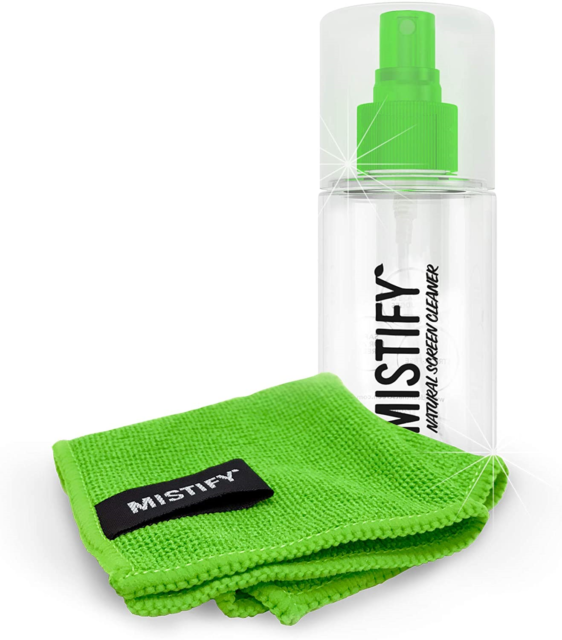 Mistify Natural Screen Cleaner 120ml Spray Bottle with 1 Microfibre Cloth TVs TV