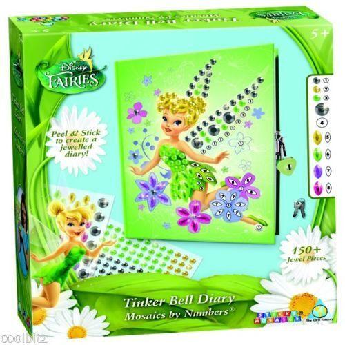 Sticky Mosaics Disney Fairies Tinker Bell Secret Diary Notebook & Lock DIARY