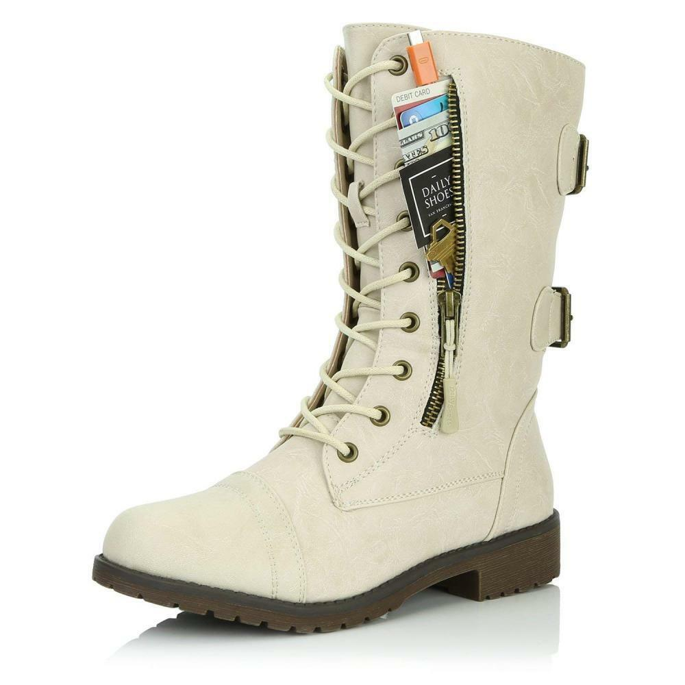 DailyShoes Women's Military Combat Lace up Mid Calf High Credit Card Knife...