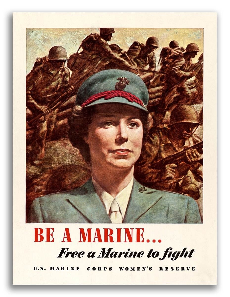"""1943 """"Be a Marine"""" Women/'s ReserveVintage Style WW2 Poster 18x24"""