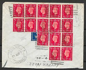 Great Britain covers 1942 HM Ship censored Airmailcover Bombay-New Brunswick
