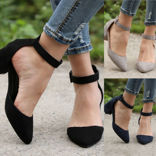 Womens Low Block Heels Sandals Ankle Strap Buckle Pointed Toe Work Formal Shoes