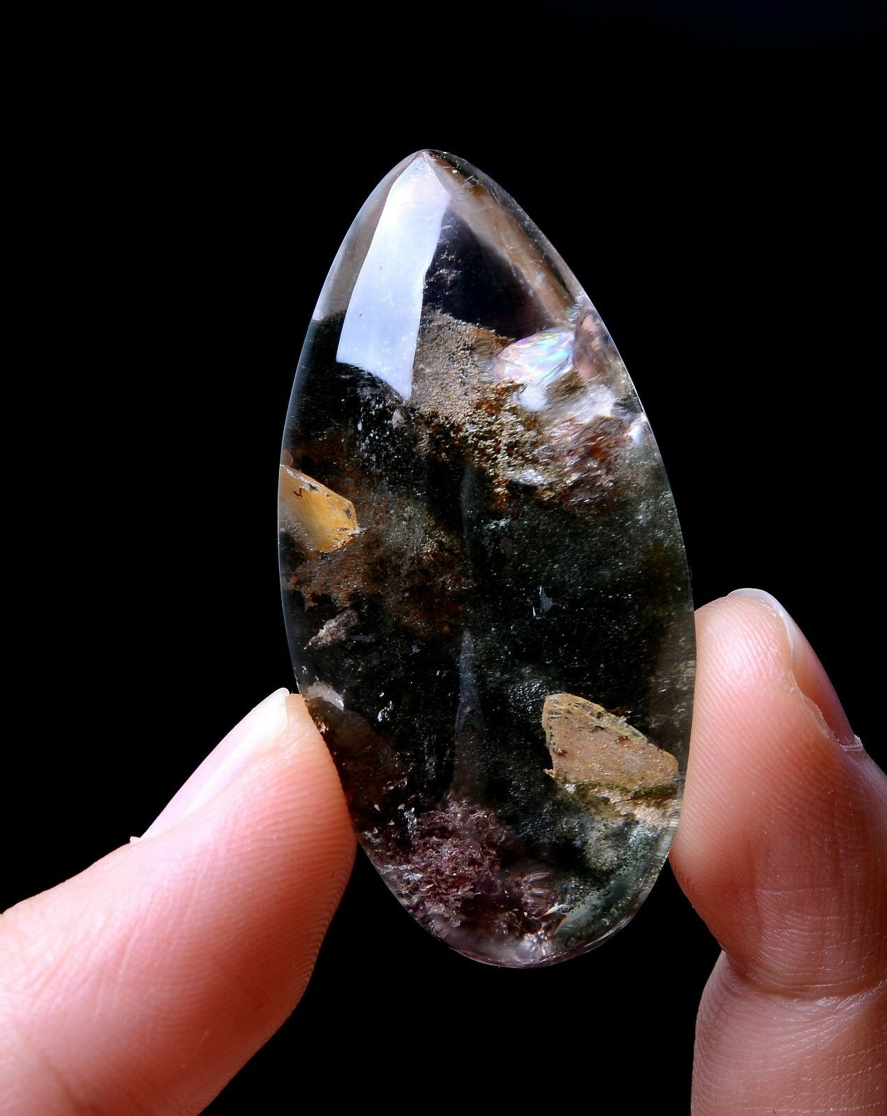 124.95ct Natural colorful Red Ghost Mica Quartz  Stone in Stone  Crystal Pendant