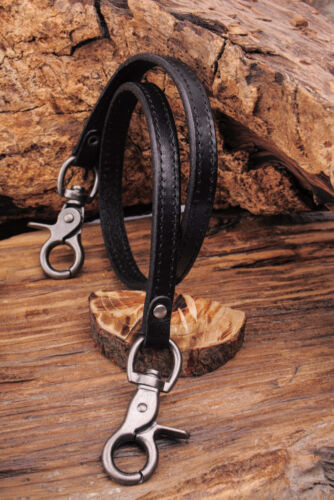 C62 Black Retro Cool Plain Leather Rocker Biker Jeans Keychains Key Wallet Chain