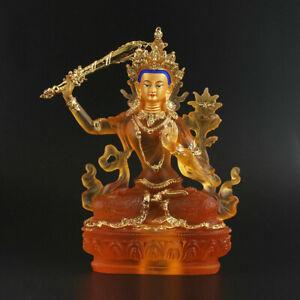 Tibet-Tibetan-Buddhism-Resin-Gild-Manjuist-Boddhisattva-Kwan-yin-Guanyin-Buddha