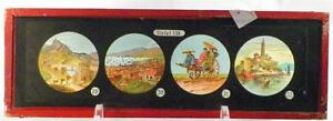 Antique-Glass-Slide-Great-Wall-China-Pagodas-Coolie-Cart-Tafel-VIII-1880-AS-IS