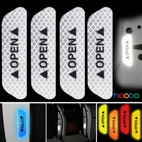 4x Super White Car Door Open Sticker Reflective Tape Safety Warning Decal