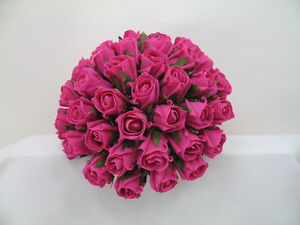 Wedding bouquets bride rose posy in hot pink artificial flowers image is loading wedding bouquets bride rose posy in hot pink mightylinksfo
