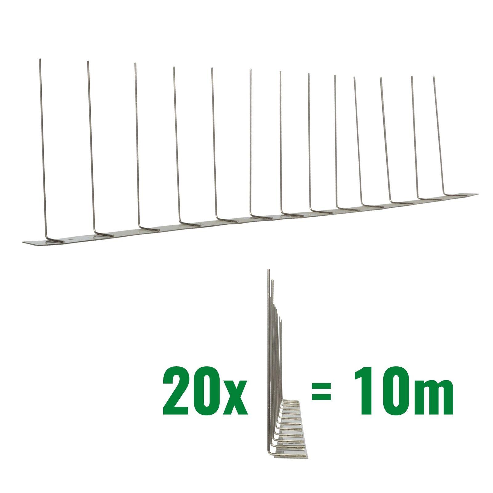 10m PICS anti MOUETTES 1-rangee - V2A Acier inoxydable&Titan - Défense d'oiseau