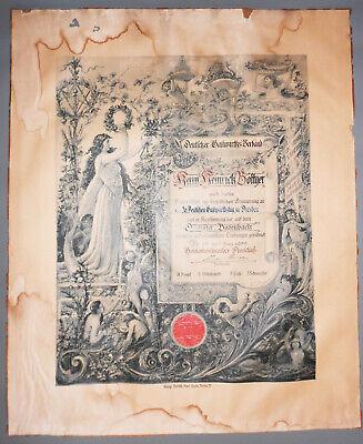 Klug Andenken Urkunde Deutscher Gastwirtsverband 1899 Dresden Dampfer Bodenbach ! Reichhaltiges Angebot Und Schnelle Lieferung