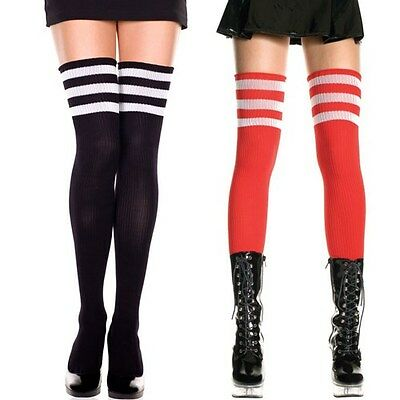 Sexy Black Goth Punk Rock Sheer Thigh Hi Long Socks Open Leg Warmers Footless OS