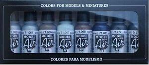 AIRBRUSH-PAINTS-VALLEJO-MODEL-AIR-METALLIC-COLOR-KIT-8-x-17ML-BOTTLES