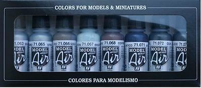 AIRBRUSH PAINTS - VALLEJO MODEL AIR METALLIC COLOR KIT (8 x 17ML BOTTLES)
