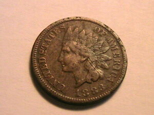 1883 decent VG crusty original Very Good Indian Head Cent Small Penny USA Coins