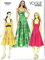 Vogue Sewing Pattern 9001 Gored Pleated Maxi Summer Dress Fit & Flared 6-22