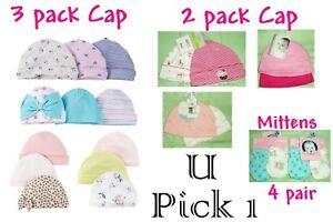 fc4eb4a57c6b1 Baby Cap Mittens Beanie Hat Girls Lot Shower Gift Newborn 0-3 months ...
