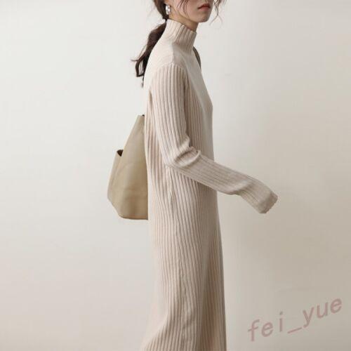 Sweater Cappotto esterno di Womens Turtle New lungo Length donne caldo Knited Full Neck delle rOqAxr1