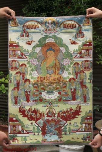 "36/"" Tibet Buddhism Silk Cloth Shakyamuni Buddha G Thangka Embroidery Mural"