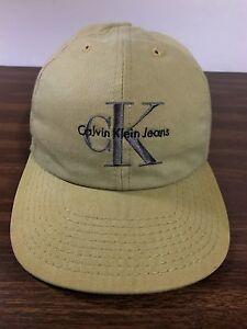21339140707 Calvin Klein Jeans Snapback Hat Faded Beige Baseball Cap Streetwear ...