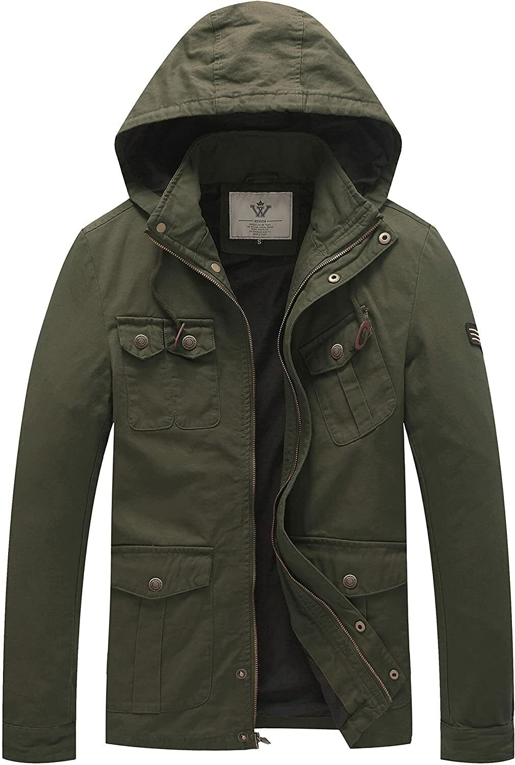 WenVen Men's Fall Casual Outerwear Lightweight Cotton Military Hooded Jackets