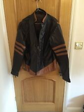 Tan And Dark Brown Italian Leather Biker Short Jacket Men's NWT 46 Chest L