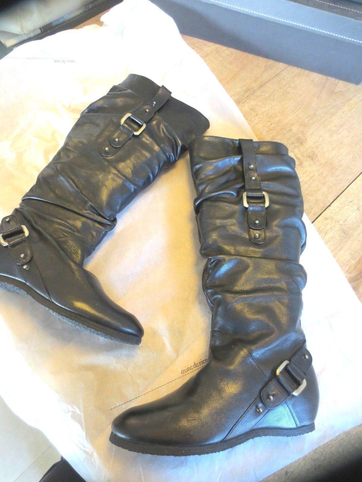 Botte cuir noir compensé interieur NEUVE Val 220E Point 35.5,36 ,39,39.5