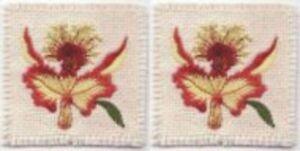 """2.5 """" Jaune Rouge Orchidée Fleur Broderie Patch"""