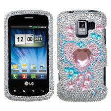 For LG Optimus Zip L75C Crystal Diamond BLING Case Phone Cover Star Track