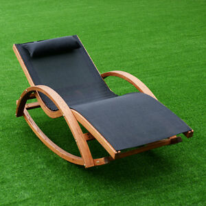 Image Is Loading Rocking Lounge Chair Larch Wood Beach Yard Patio