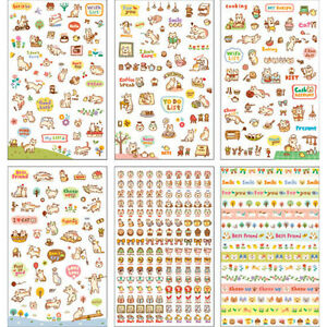 6-Sheets-Set-Cute-Cartoon-Cat-Paper-Stickers-for-Scrapbooking-Diary-Decor-PT