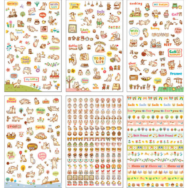 6 Sheets/Set Cute Cartoon Cat Paper Stickers for Scrapbooking Diary Decor PT