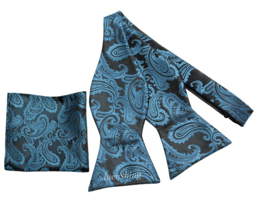 New Brand Q Men/'s micro fiber formal Self-tied Bow tie /& Hankie TEAL paisley