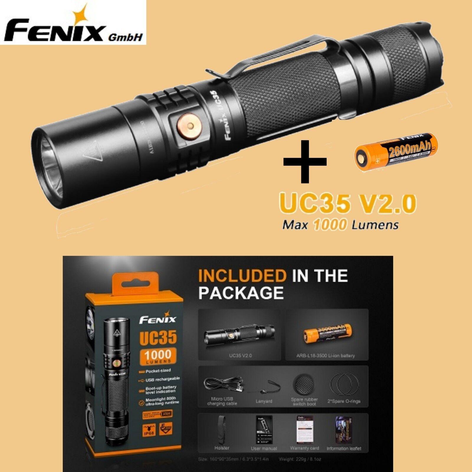 Fenix UC35 V2.0 Gürtelclip LED Taschenlampe USB Kabel Akku Holster Gürtelclip V2.0 Handschlaufe f09c47