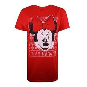 5301666c94a Image is loading Disney-Minnie-Mouse-Christmas-Ladies-T-shirt-Red