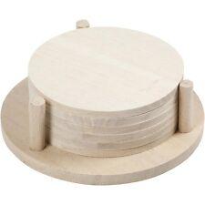 Plain Coasters Set - Round Wood x 6 With Coaster Holder - Paint Decorate Craft