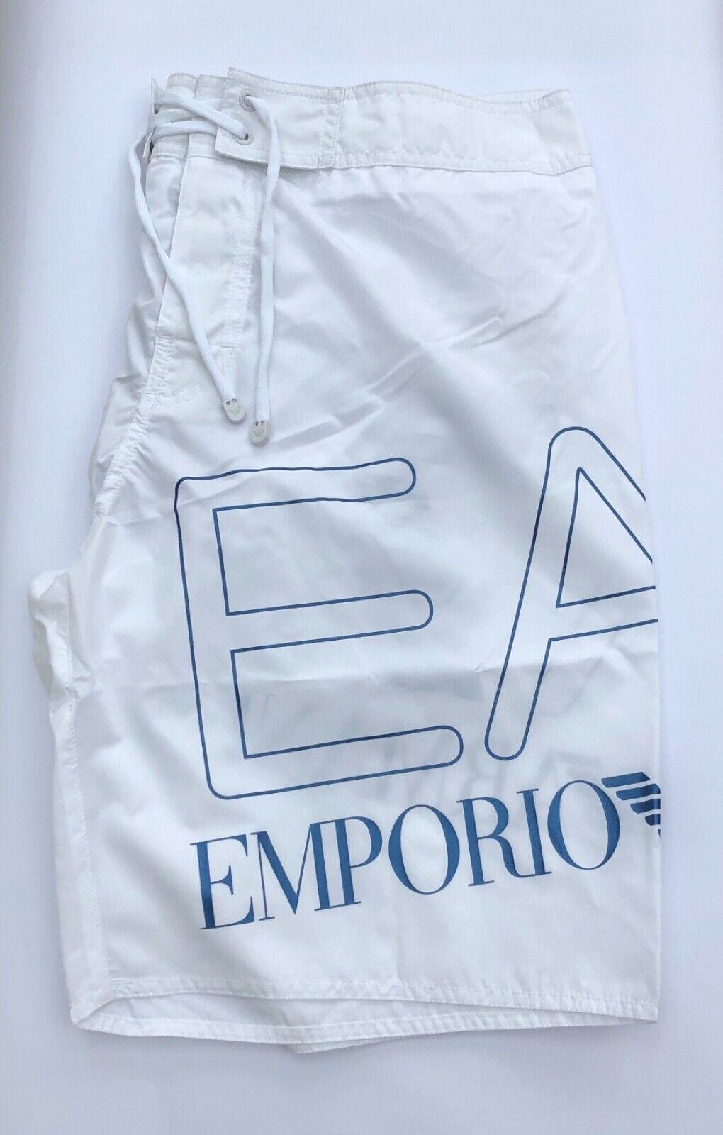 EMPORIO ARMANI EA7 White 100% Polyester Large Logo Beach Shorts Sizes S-XXL BNWT