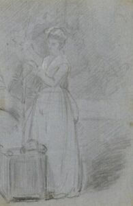 A.C.H. Luxmoore, Woman Tending to Plant – 19th-century charcoal drawing