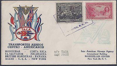 Süd- & Mittelamerika Nicaragua 1939 Will Rogers Briefmarke Auf First Flight Zu Honduras & Usa Briefmarken