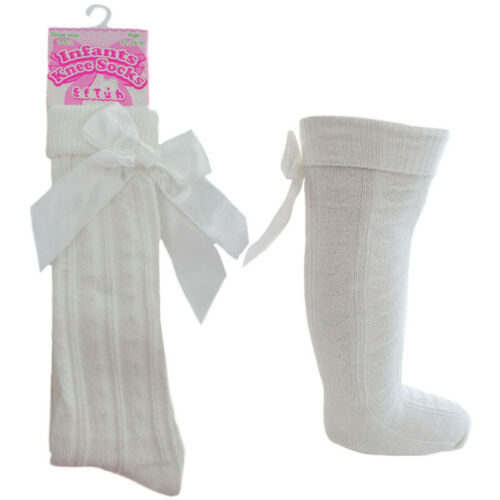 Baby Girl Knee High Length Heart Cream Ivory Socks Ribbon Bow Romany Spanish