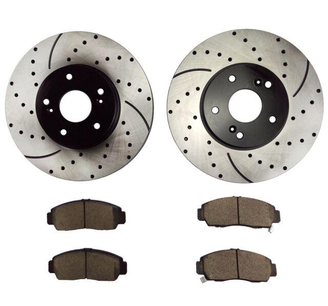 Front Drilled Brake Rotors & Ceramic Pads For 2004-2010
