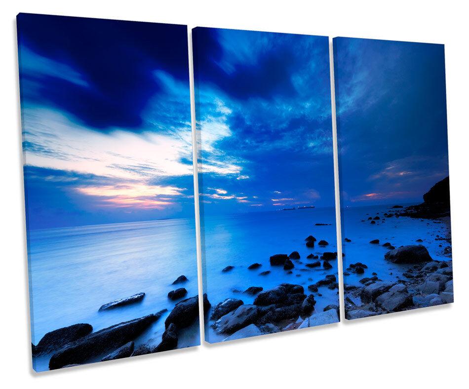 Blau Seascape Ships Horizon Picture TREBLE CANVAS WALL ART Print
