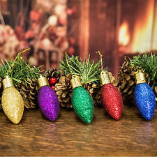Set of 5 Vintage Look Glittery Christmas Lights Tree Decorations (7.5cm)
