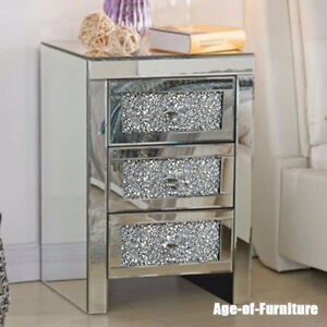 3 Drawers Mirrored Bedside Cabinet Tables Nightstand Glass Side ...