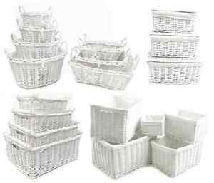 Shabby Chic White Wicker Log Big Deep Oval Rectangl Lidded Hamper Storage Basket