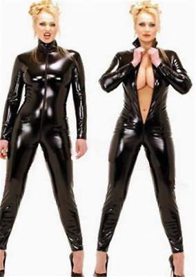 Black Full Length High Neck Women Catsuit Bodysuit Spandex Wetlook Uk 6 - 16