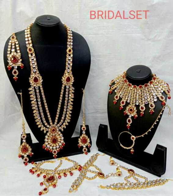 White Cz Bollywood Gold Tone Indian Necklace Set Semi Bridal