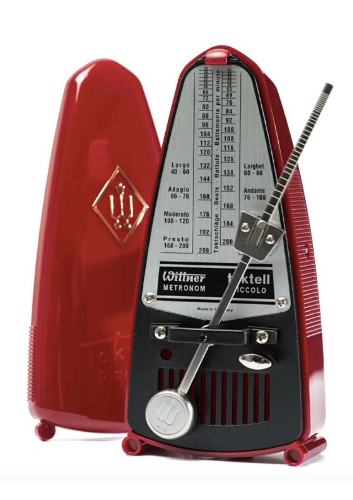 rot Wittner Taktell Piccolo pendulum metronome accurate and portable free post