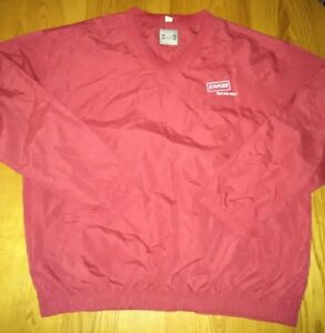 Staples-Employee-Mens-XL-Red-V-Neck-Pullover-Wind-Breaker-Jacket