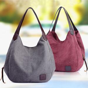 0960e083a1 Image is loading Women-Vintage-Large-Canvas-Handbag-Travel-Shoulder- Messenger-