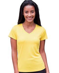 AWDis-Damen-V-Neck-Girlie-einfach-Cool-Kurzarm-Atmungsaktiv-Running-T-Shirt